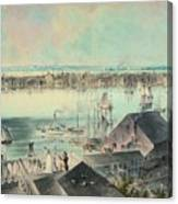 View Of New York From Brooklyn Heights Ca. 1836, John William Hill Canvas Print