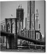 View Of One World Trade Center And Brooklyn Bridge Canvas Print