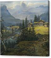 View Of Oylo Farm, Valdres Canvas Print