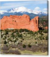View Of Pikes Peak And Garden Of The Gods Park In Colorado Springs In Th Canvas Print