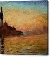 View Of San Giorgio Maggiore Venice By Twilight Canvas Print