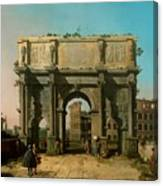 View Of The Arch Of Constantine With The Colosseum Canvas Print
