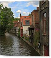 View Of The Canal From Maria Brug On Katelijnestraat In Bruges Canvas Print