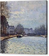 View Of The Canal Saint-martin Paris Canvas Print