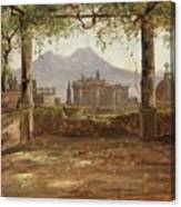 View Of The Castel Nuovo And Vesuvius From A Pergola Canvas Print