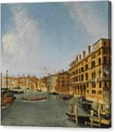 View Of The Grand Canal Venice With The Fondaco Dei Tedeschi Canvas Print