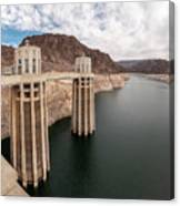 View Of The Hoover Dam Lake With Low Water Reserves Canvas Print