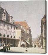 View Of The Market Horn  With The Statue Of Jan Pietersz Coen And The Waag Anonymous  1907   1930 Canvas Print