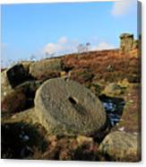 View Of The Mother Cap Gritstone Rock Formation, Millstone Edge Canvas Print