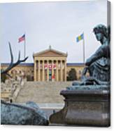 View Of The Museum Of Art In Philadelphia From The Parkway Canvas Print