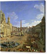 View Of The Piazza Navona Canvas Print