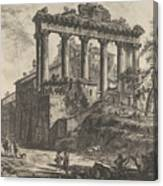 View Of The So-called Temple Of Concord With The Temple Of Saturn, On The Right The Arch Of Septimiu Canvas Print
