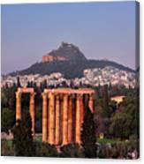 View Of The Temple Of Olympian Zeus And Mount Lycabettus In The  Canvas Print