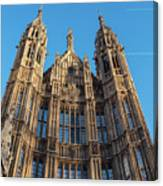 View Of The Top Detail Of The Parlament House In London Canvas Print