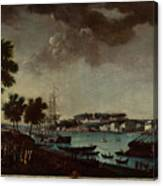 View Of The Town And Port Of Bayonne Canvas Print