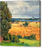 View Of Vadstena From The Surrounding Fields Canvas Print