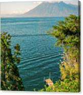 View Of Volcano San Pedro With A Crown Of Clouds In Guatemala Canvas Print