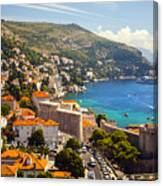 View Over Dubrovnik Coastline Canvas Print