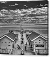 View Over The Pier Mono Canvas Print