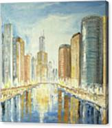 View Up The Chicago River Canvas Print