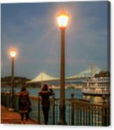 Viewing The Bay Bridge Lights Canvas Print