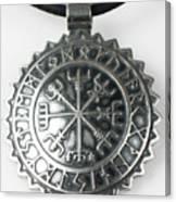 Viking Vegvisir Rune Calendar Sterling Silver Pendant Canvas Print