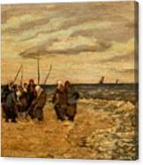 Viktor Ivanovich Zarubin Russian 1866  1928 Fisherwomen In Normandie Canvas Print