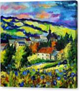 Village And Blue Poppies  Canvas Print