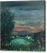 Village At Twilight Canvas Print