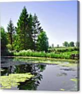 Village Pond At Tissington Canvas Print