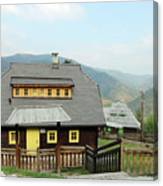 Village With Wooden Houses On Mountain Canvas Print