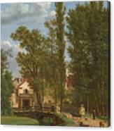 Villagers And Animals In A Landscape Beside A Bridge At The Entrance Of A Village Canvas Print