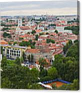 Vilnius Panorama From The Hill Of Three Crosses Canvas Print
