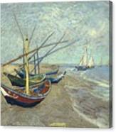 Vincent Van Gogh  Fishing Boats On The Beach At Les Saintes Maries De La Mer Canvas Print