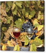 Vineyard With Red And White Wine Autumn Season Canvas Print