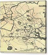 Vintage 1692 Map Of Salem Massachusetts - 1866 Canvas Print