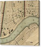 Vintage 1840s Map Of New Orleans Canvas Print