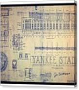 Vintage 1920s art deco yankee stadium blueprint autographed by joe vintage 1920s art deco yankee stadium blueprint autographed by joe dimaggio canvas print malvernweather Gallery