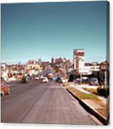 Vintage 1950s View Of Congress Avenue Looking North From South Congress To The Capitol Canvas Print