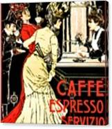 Vintage Antique Italian Coffeehouse Advertising Canvas Print