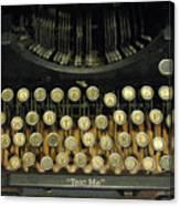 Vintage Antique Typewriter - Text Me - Antique Typewriter Keys Print Black And Gold Canvas Print
