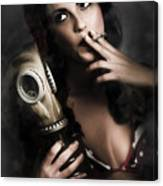 Vintage Army Pinup Girl Holding Gas Mask Canvas Print