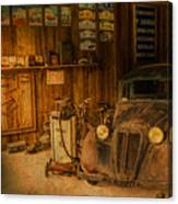 Vintage Auto Repair Garage With Truck And Signs Canvas Print