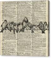 Vintage Birds Dictionary Art Canvas Print