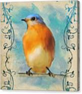 Vintage Bluebird With Flourishes Canvas Print