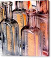 Vintage Bottles At A Flea Market Neg Canvas Print