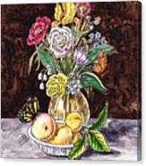 Vintage Bouquet With Fruits And Butterfly  Canvas Print