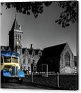 Vintage Bus At Taunton School Canvas Print