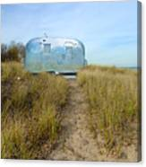 Vintage Camping Trailer Near The Sea Canvas Print