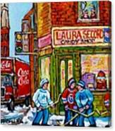 Vintage Candy Store Classic Coca Cola Truck Winter Scene Hockey Art Canadian Art Carole Spandau      Canvas Print